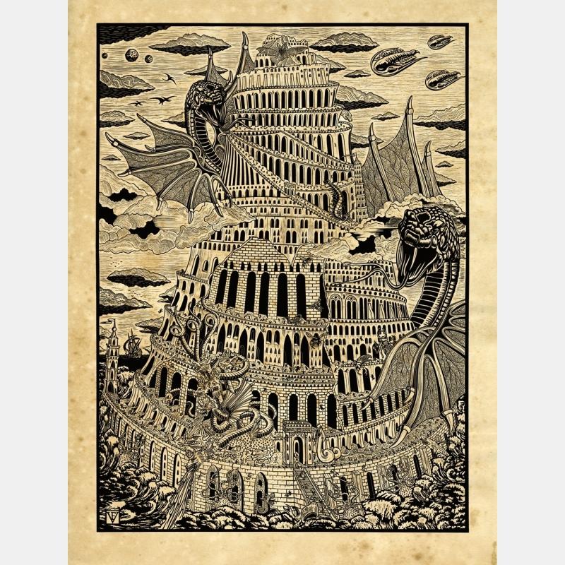 frédéric voisin - la tour de babel - n&b